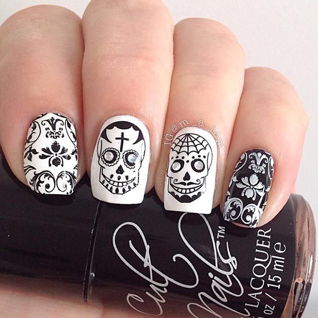 Stamped Sugar Skull Nail Design