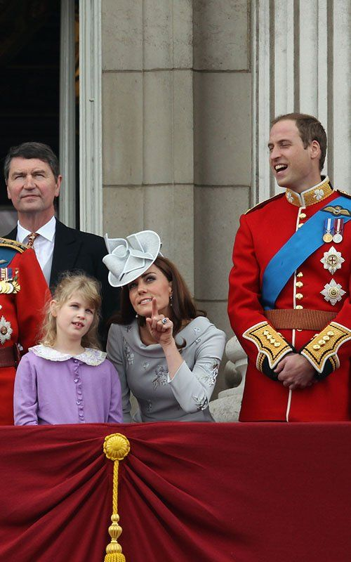 Kate, in Erdem, shares a moment with Edward and Sophie's daughter, Lady Louise Windsor, during the balcony portion of the 2013 Trooping the Colour ceremonies.