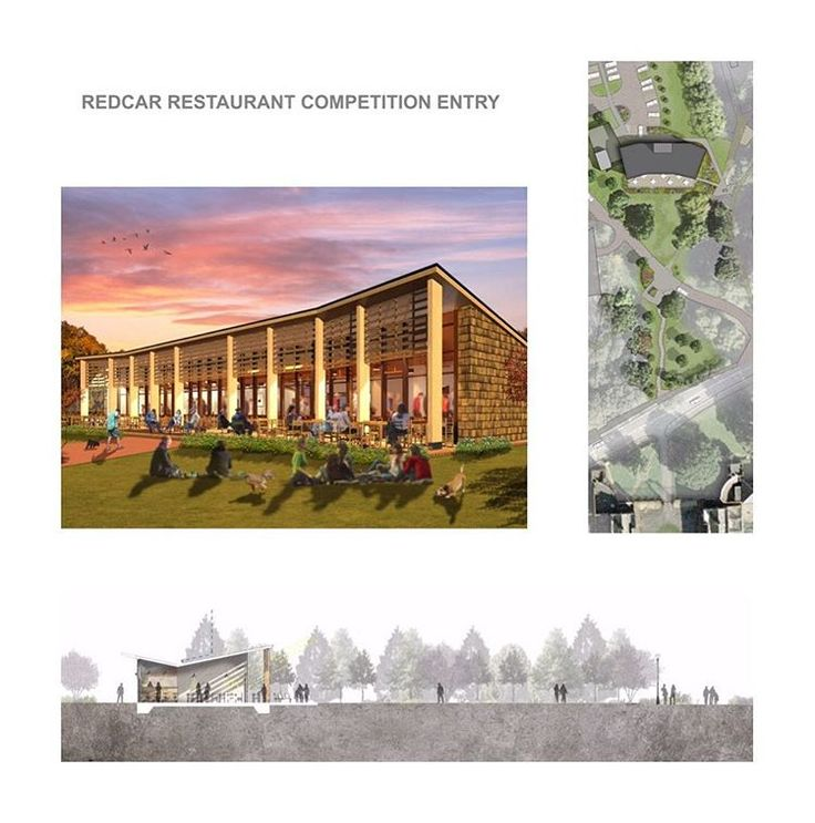 JMA Redcar Restaurant - competition entry for a restaurant. Timber colonnade and integrated external seating and landscaping