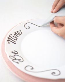 Scrawl your sweetie a sweet message on a plate with piped chocolate.
