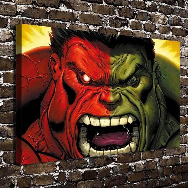 Red Hulk Vs Green Hulk Anime Wall Painting