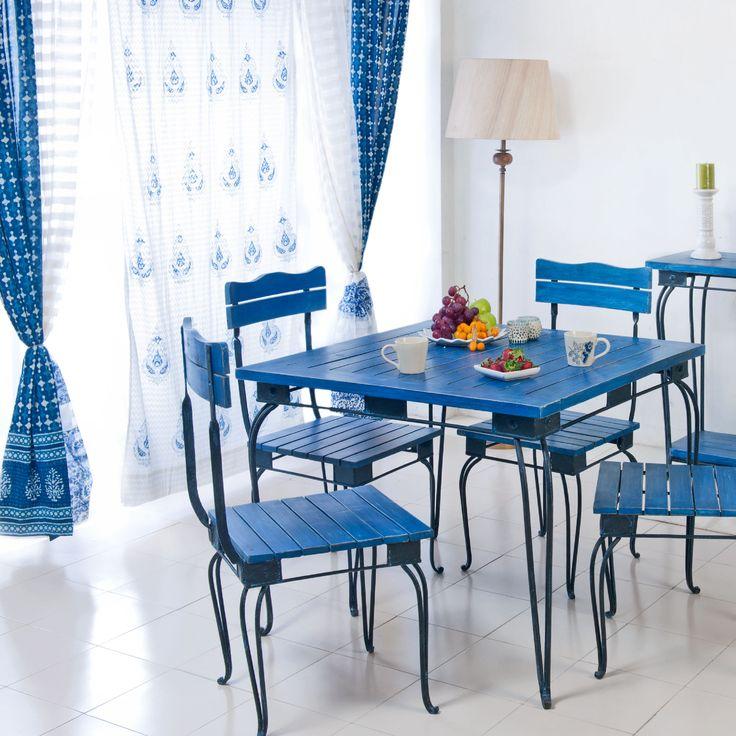#Mediterranean #Blue #dining #decor #home #lifestyle #summer #curtains #floor #lamp #indigo #refreshing #white #colour #tableware #Fabindia