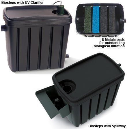 Biosteps 10 Progressive Filters 13W UV Bulb by Matala. $36.99. Matala biological filter for koi ponds and water gardens Expandable, high-capacity pond filter accommodates a variety of ponds Provides unparalleled biological filtration for superior pond water quality Expandable gravity filter maximizes Matala filter media performance. The rugged Biosteps 10 contains an amazing 200 sq. ft. of surface area for beneficial bacteria growth. Combined with a cross flow design...