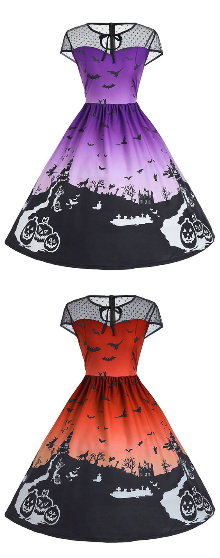 vintage dresses for women:Halloween Mesh Insert Vintage A Line Dress