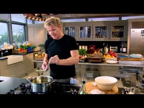 Gordon Ramsay's Home Cooking S01E14- Comfort Food - Spiced baked porridge pg24, Ginger beer battered fish pg186 with Chilli minted mushy peas pg185, Sausage  Caramelised red onion hotpot pg180 with Potato  beetroot gratin pg181, Apple compote with a creamy whip pg272
