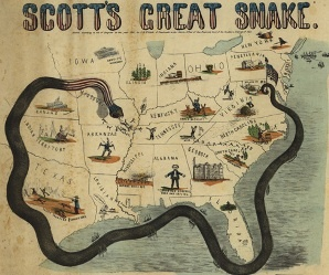 The Anaconda Plan was a strategy created by Northern General-in-Chief Winfield Scott to take the seceding southern states under control. The plan consisted of blocking of southern ports and cutting the South in two by invading the Mississippi River. The Anaconda Plan   greatly helped the North win the Civil War, making it one of America's most famous war strategies.