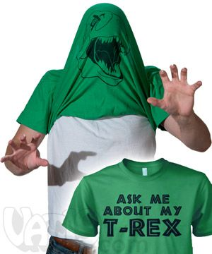 """Ask Me About My T. Rex"" Shirt: Flip-up disguise t-shirt."