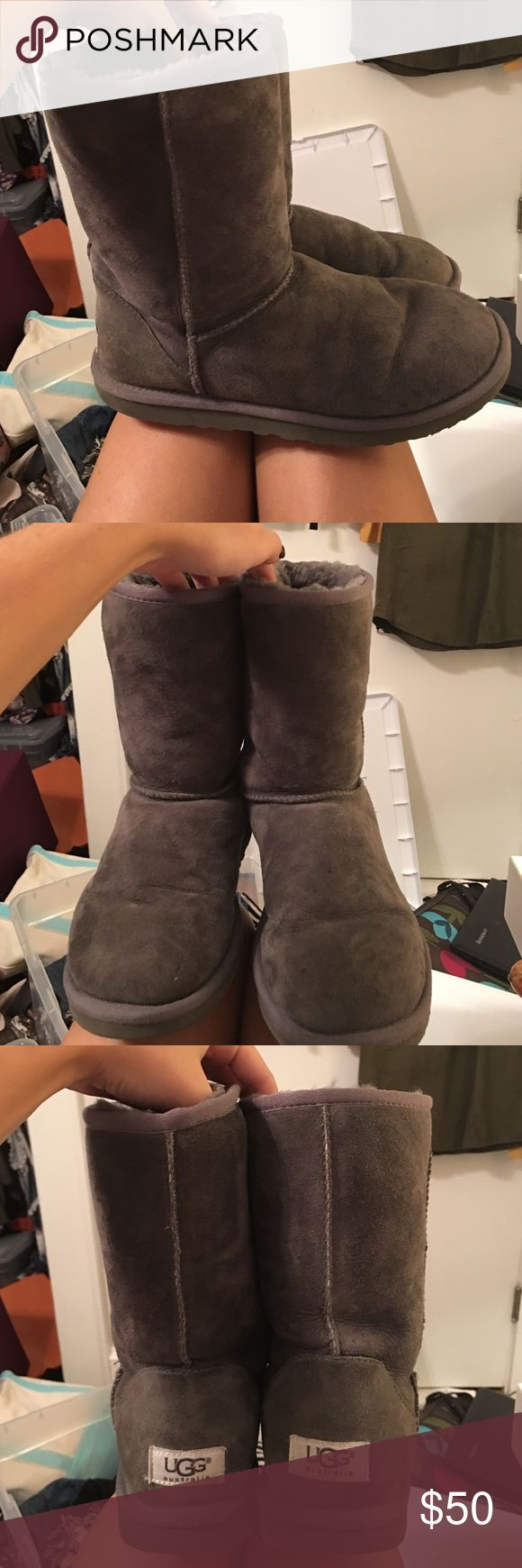 Classic short grey UGG boots Classic short grey UGG boots. Size:8. Super comfy and very warm, the perfect boots for fall/winter!!!! UGG Shoes Winter & Rain Boots