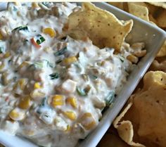 Mexicorn Dip Angie Riggs's amazing mexicorn dip. Sooo good!  1 square cream cheese softened.  I cup sour cream.  1cup mayonnaise.   Cream these together first.  Add:  2 cans rotel (I mostly drain them so not so soupy) .  2 cans mexi corn drained.  6 green onions sliced small.  2 cups shredded cheddar cheese.  Mix altogether and enjoy:) Serve cold or hot with tortilla chips or Fritos. So good! Thank you Angie!!!!