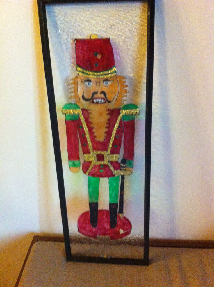 Nutcracker-24'' tall, faux stained glass All of my frames were purchased from Dollarama stores.