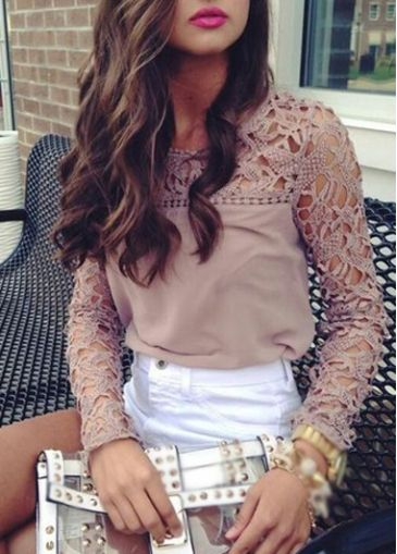 Light Coffee Crochet Lace Splicing Chiffon Blouse on sale only US$17.59 now, buy…