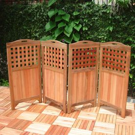 Vifah 47 In X 102 In Natural Wood Outdoor Privacy Screen