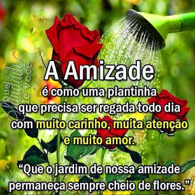 """Que saudade de você: A Amizade é como uma plantinha que precisa ser regada com muito carinho, muita atenção e muito amor. """"Que o jardim da nossa amizade permaneça sempre cheio de flores"""""""