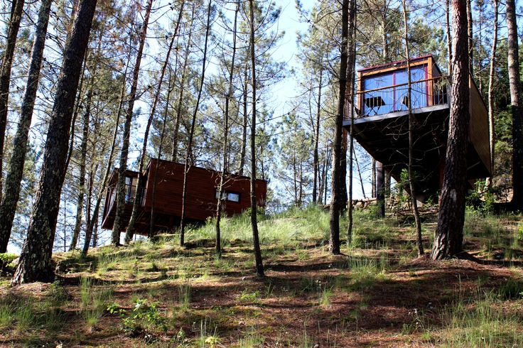 Lima Escape treehouses. Our Bungalow T1 and T1+1 with the stunning view to the river Lima. Lima Escape Camping & Glamping