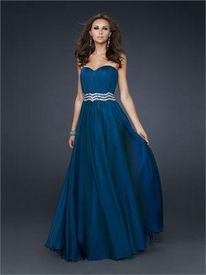 Gorgeous Strapless Sweetheart Neckline with Beaded Waistband Chiffon Prom Dress PD11073 www.dresseshouse.co.uk $119.0000