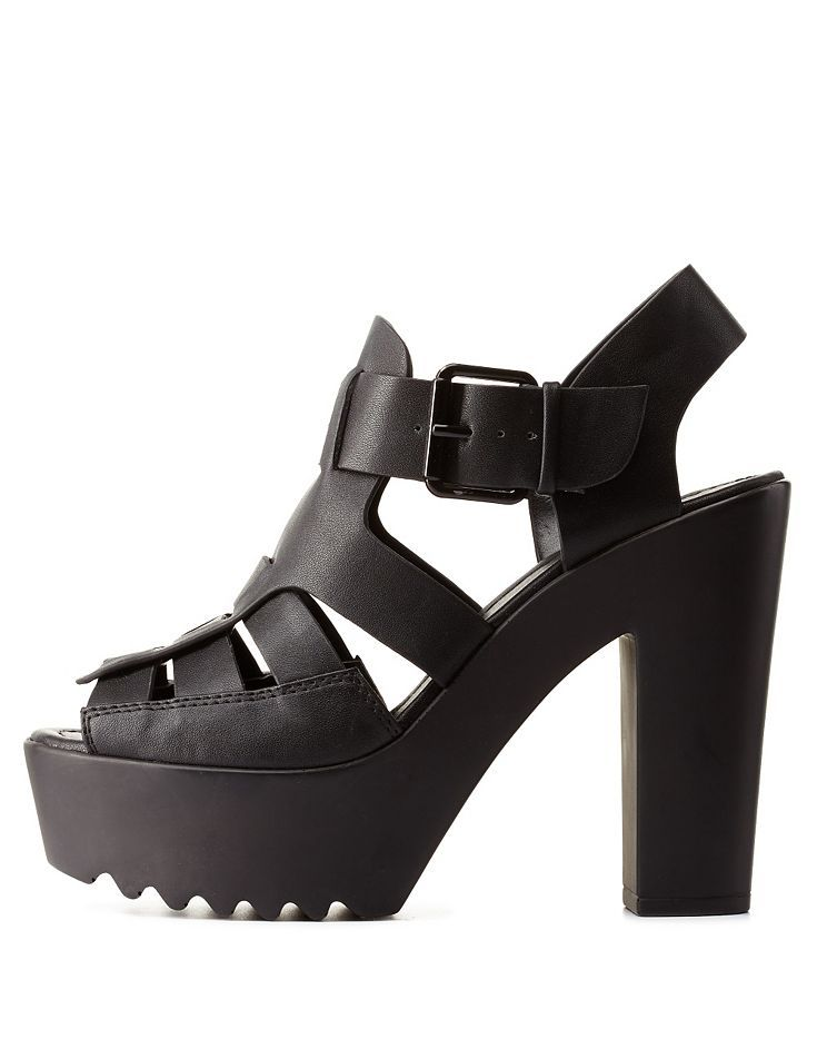 Black Platform Chunky Heel