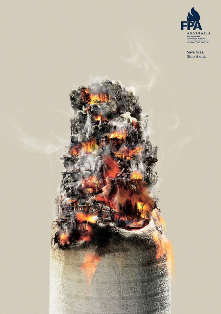 Australia poster warning people to stamp out cigarettes using the ash area in the image to display burning houses brilliant poster really creative makes you look twice.