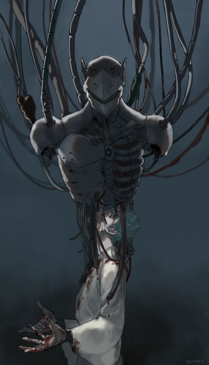 He is still human inside...the robot parts are just an outer shell