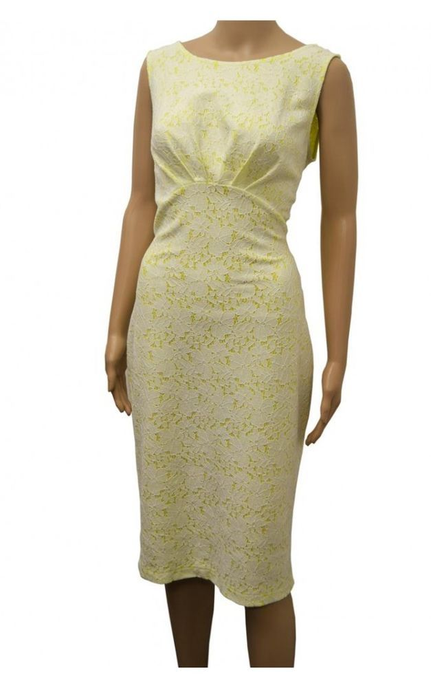 NEW Wallis Yellow Lemon White Floral Lace Pencil Shift Dress 8 to 18 RRP £55 in Clothes, Shoes & Accessories | eBay