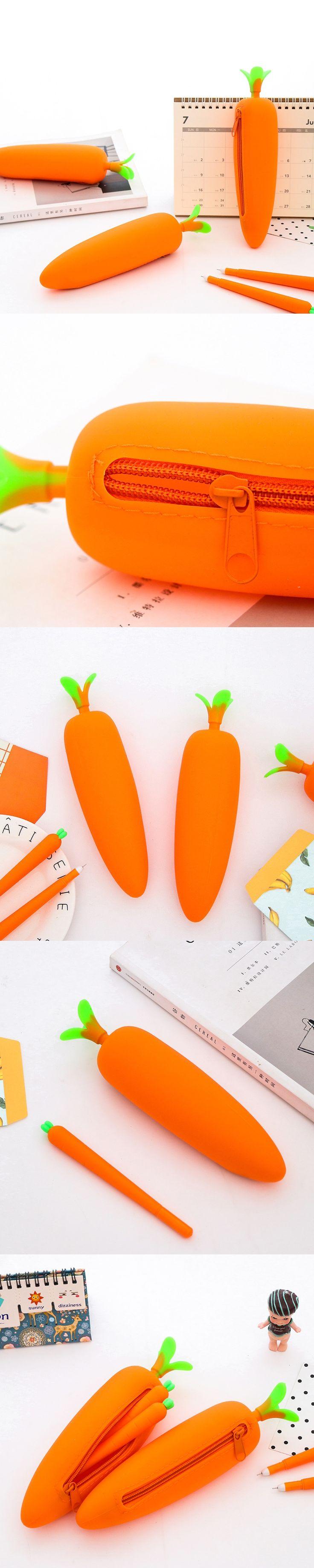 New Korean Style Cute Carrot Pencil Bag Stationery Storage Organizer Bag Boys&Girls Pencil Case For School Supplies
