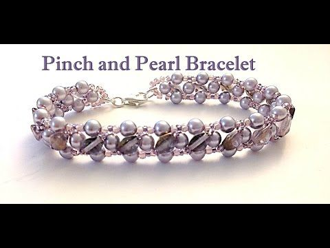 How to DIY Pink Freshwater Lace Pearl Bracelet with Green Pearl Beads - YouTube