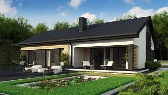 Z349 D - Dom drewniany z dachem 2-spadowym, 4 sypialniami oraz przestronną strefą dzienną