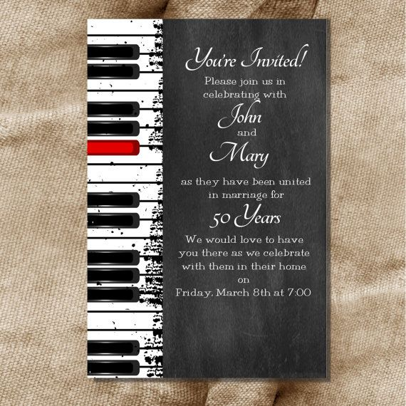printable 30th 40th 50th 60th wedding anniversary or birthday party love music piano keys invitation diy