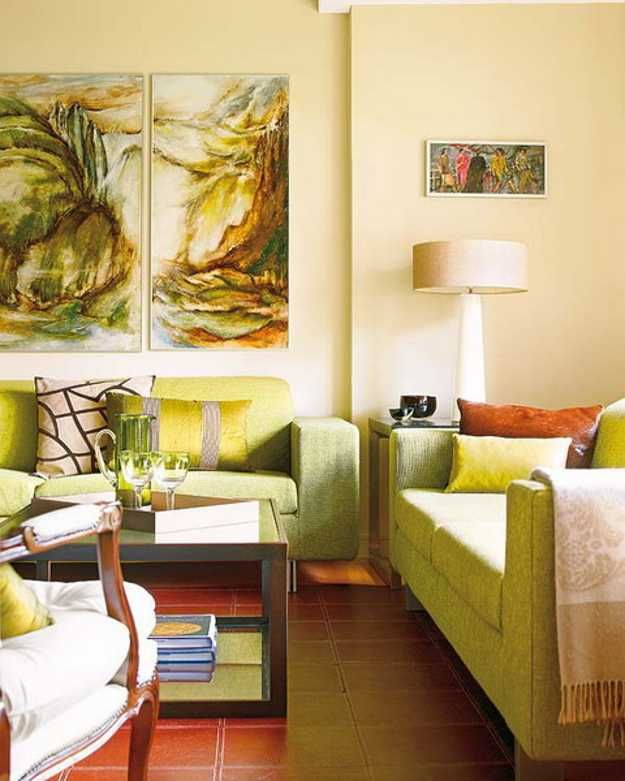 green living room sofas