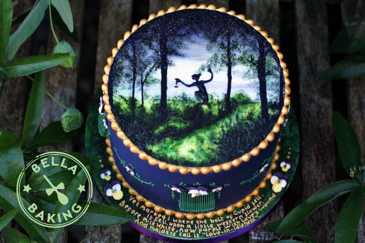 A Midsummer Night's Dream themed cake for a contemporary Royal Icing collaboration featured in Cake Masters magazine, September 2015.  Hand painted with Royal Icing run out figure, scratch piped 3D details, piped beading, string extension work, piped 'love-in-idleness' flowers and tiny piped script.