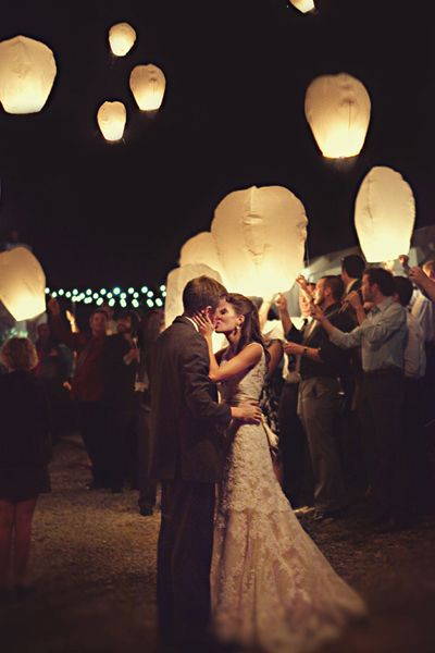 Wedding & Reception Lighting Ideas - sky lanterns for the guests.