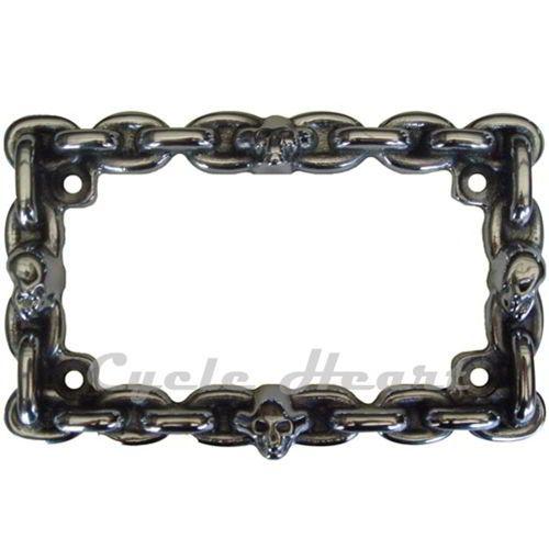 Aluminum License Plate Frame >> Skull and chain license plate frame for motorcycles with 3D aluminum profile. | Skull Motorcycle ...