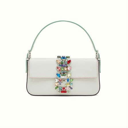 Fendi Baguette in white with multicolored crystals.