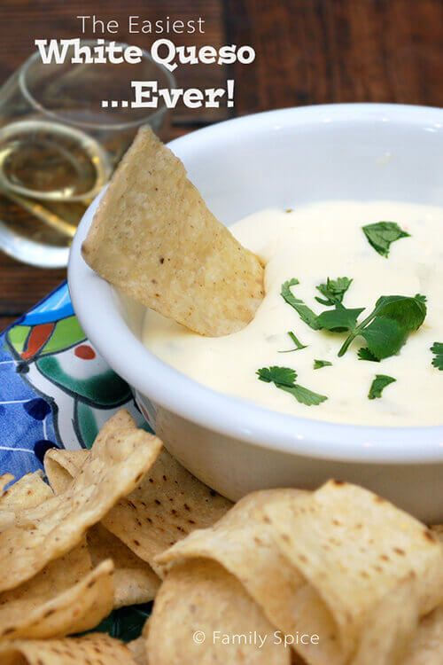 If you are looking for an easy white queso recipe, look no further! This recipe requires only 2 ingredients and it's creamy and delicious!