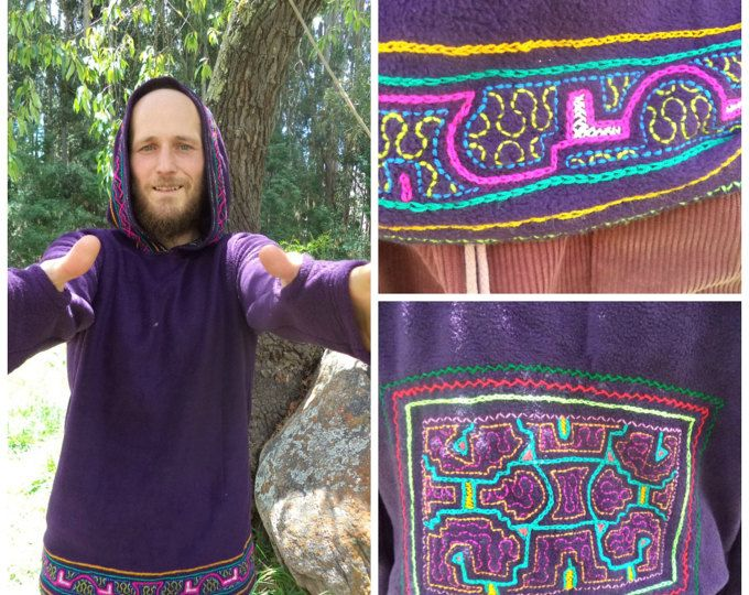 Men and women clothing Hood Festival wear psychedelic Shipibo Indigenous Amazon Tribe Ayahuasca patterns, Embroidery Handmade Custom Shakruna Ceremonial clothing