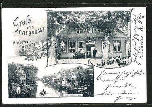 Alte Ansichtskarte: AK Estebrügge, Krügers Buchdruckerei, Partie an der Este