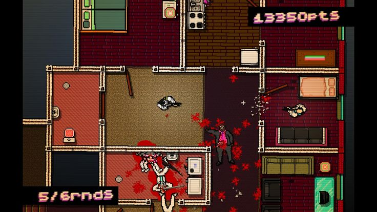 Hotline Miami Top-Down [orthographic], 2D graphics.