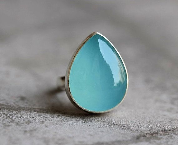 Tear drop ring - Aqua ring - Custom ring - Unique ring - Chalcedony ring - Gemstone ring - Size 8 & more - Gift for her
