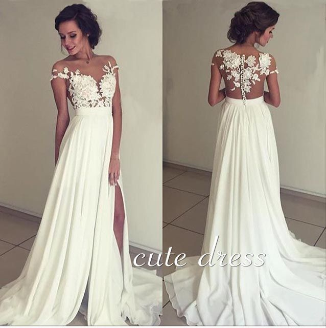 Cute ivory chiffon lace round neck long prom dress, evening dress