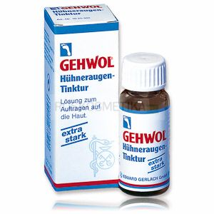 МОЗОЛЬНАЯ НАСТОЙКА Huhneraugen tinktur Gehwol (Германия) Высококонцентрированное средство с сильным проникающим и действием.  Предназначено для устранения твердой корневой мозоли только при проведении профессионального аппаратного педикюра.  ** Важно! **  Процедура противопоказана при синдроме диабетической стопы.  Это агрессивная жидкость, требующая осторожного с ней обращения. При нанесении происходит быстрое размягчение верхнего слоя эпидермиса, за счет чего он сильно истончается.