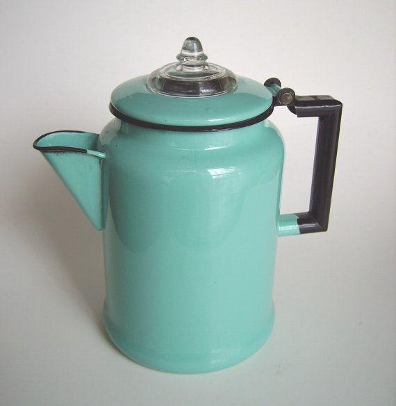 Vintage aqua turquoise & black enamel 6 cup coffee percolator pot - graniteware basket / stem - gorgeous retro kitchen / glamping accessory