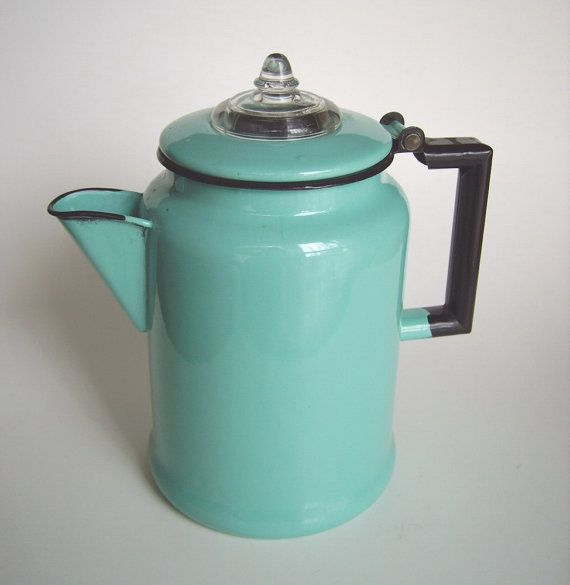 Vintage aqua turquoise & black enamel 6 cup coffee percolator pot - graniteware basket / stem - gorgeous retro kitchen / glamping accessory