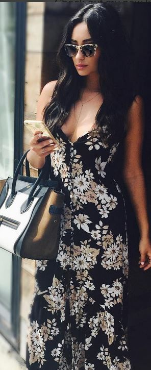 Shay Mitchell in Purse – Celine  Dress – Flynn Skye
