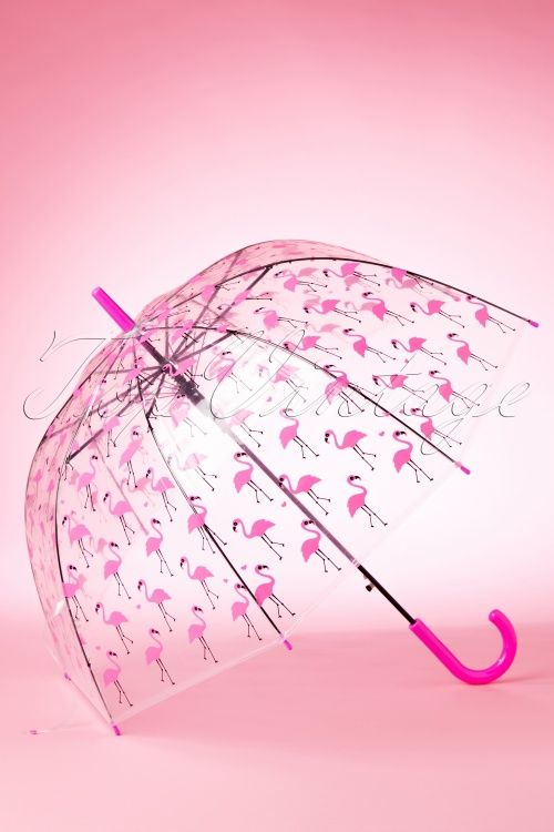 So Rainy ~ 60s Pretty Flamingo Transparent Dome Umbrella