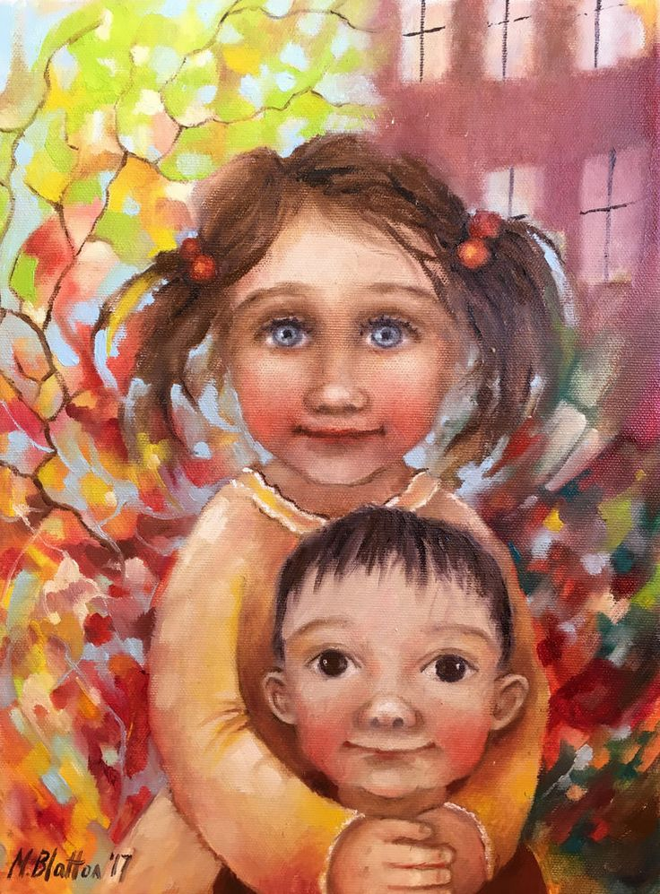"BLATTON - ""BIG SISTER"", $164 #fineart #oilpainting #oilpaintingoncanvas #artist #artists #painter #painters #painting #paintings #oilpaintings #oiloncanvas #artwork #figurativeart #portrait #contemporaryart #modernart #dailypainting #Blatton #MonicaBlatton"