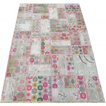 170x245 cm MultiColor Art Deco style PATCHWORK Rug with Flowers