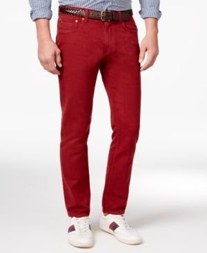 Tommy Hilfiger Men's Straight-Fit Cotton Jeans - Red 32x34