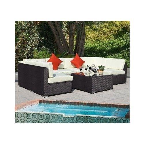 Outdoor Patio Furniture Garden Sofa Couch Cushions Rattan Lounge Pool 7 Pc Brown #Goplus