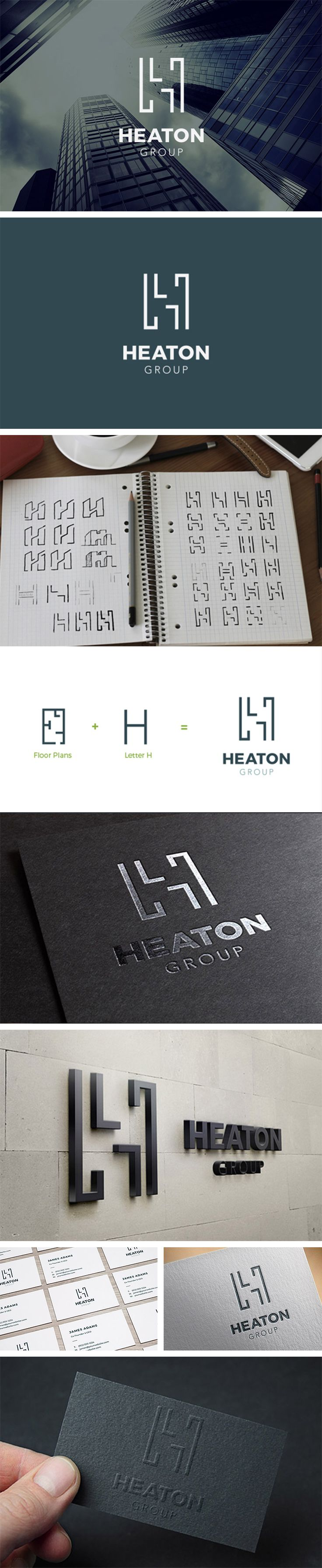 Logo Design, Brand Identity Heaton Group. Property Investment & Development, Real Estate   |   Letter H, Floor Plan, house, bold, builder, architect, geometric, shape, line, modern, minimalist, mark, monogram, inspiration   https://www.behance.net/gallery/33159225/Heaton-Group-Property-Development-Investment
