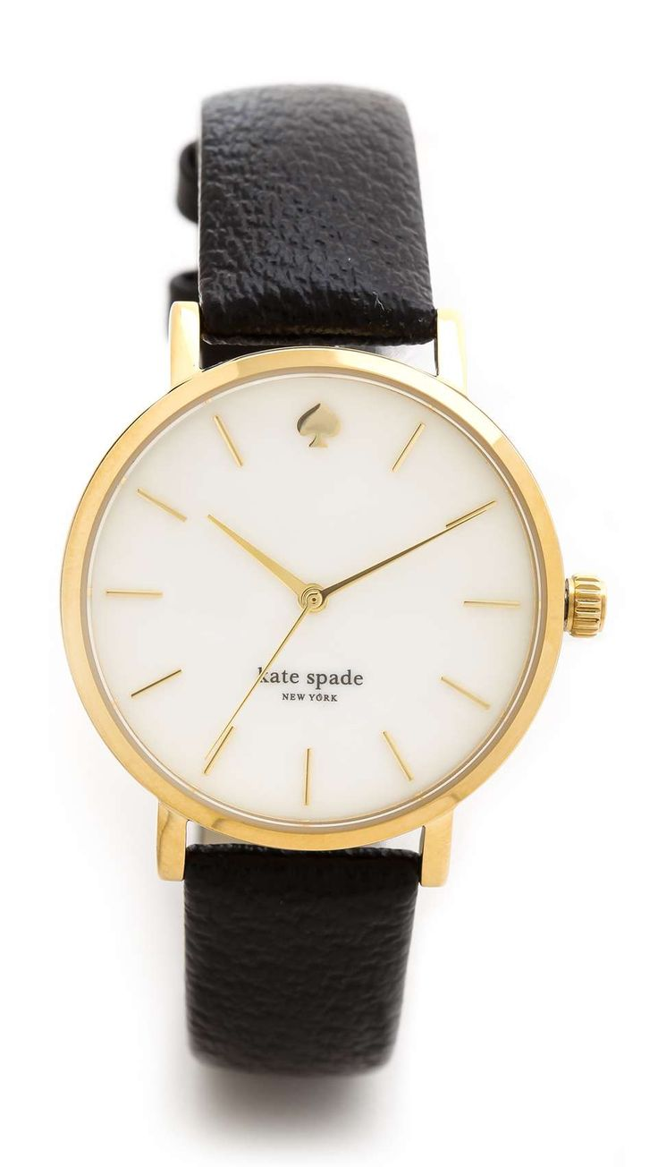 Minimalist markers detail the round dial on this gold tone Kate Spade New York watch. Leather band. Adjustable length and buckle closure. Water resistant to 30 meters. 2-year manufacturer warranty. Imported, China. MEASUREMENTS Dial: 1.25in / 3cm Band: 0.5in / 1.25cm Length: 6-8in / 15-20cm GTL #getthelook gtl.clothing