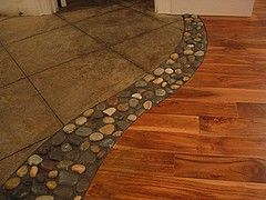 River rock in between wood and tile floors. LOVE: River Rocks, House Ideas, Dream House, Tile Floors, Living Room, Creative Idea, Floor Transition, Kitchen